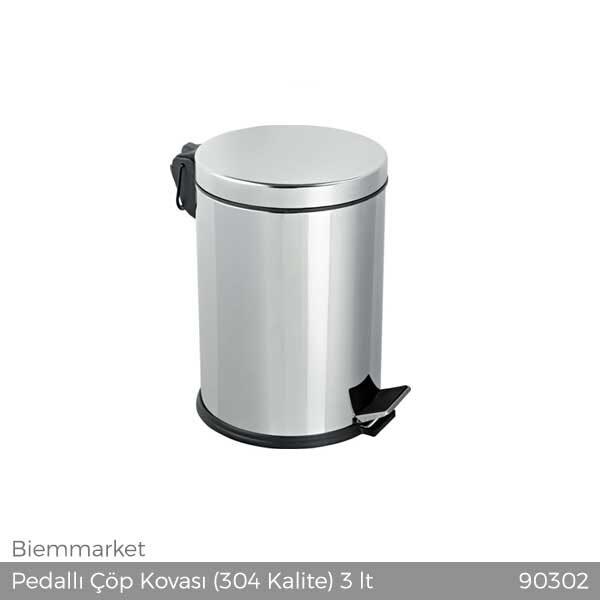 Pedallı Çöp Kovası (304 Kalite) 3 lt